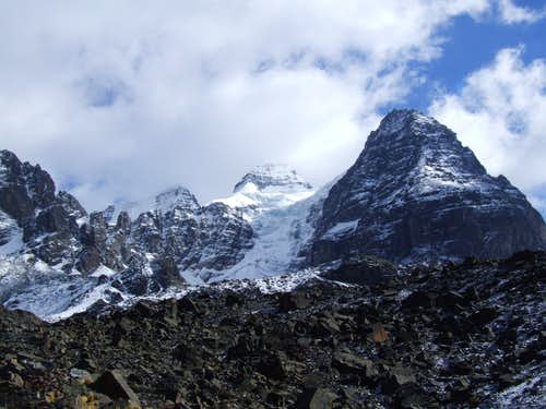 view of cabeza de condor from Condoriri camp