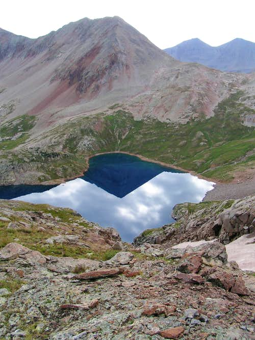 "Beatie Peak reflects in the ""sky mirror"" of Hope Lake."