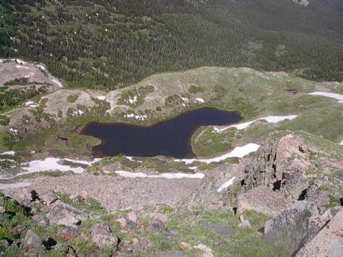 Looking down on Bench Lake...
