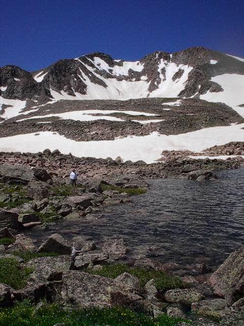 Rockhole Lake sits below the...