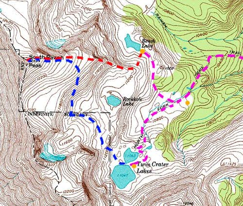 Map of South Rawah Peak and...