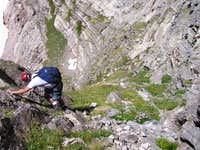 Steep grassy downclimb