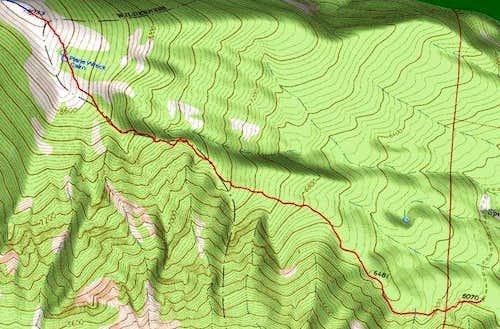 3D Topo of Little St Joe Route