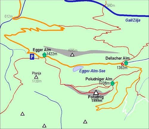 Poludnig/Poludnik map