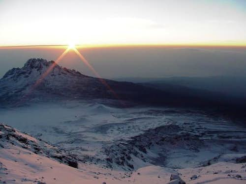 Alpenglow on Kibo - Summit...