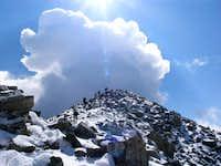 The last scramble to the summit block