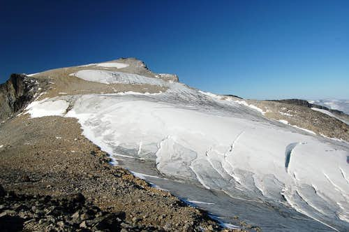Summit of Galdhøpiggen with the Styggebrean glacier leading off to the right