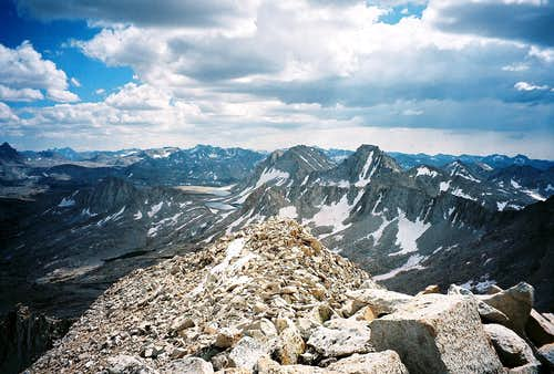 The Feather/Royce/Merriam group of peaks from the summit of Mount Julius Caesar