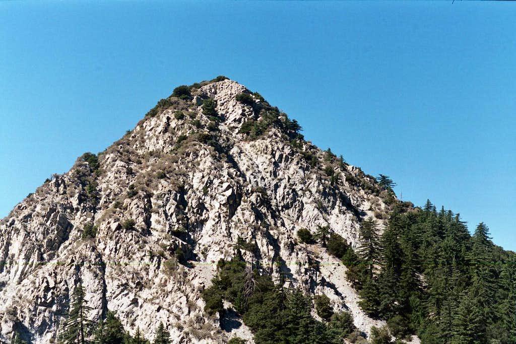 Mt. Markham (5,742') seen from near Eaton Saddle Trailhead, San Gabriel Mtns.