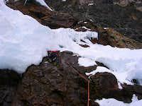 Crossing Bergshrund on Kayesh
