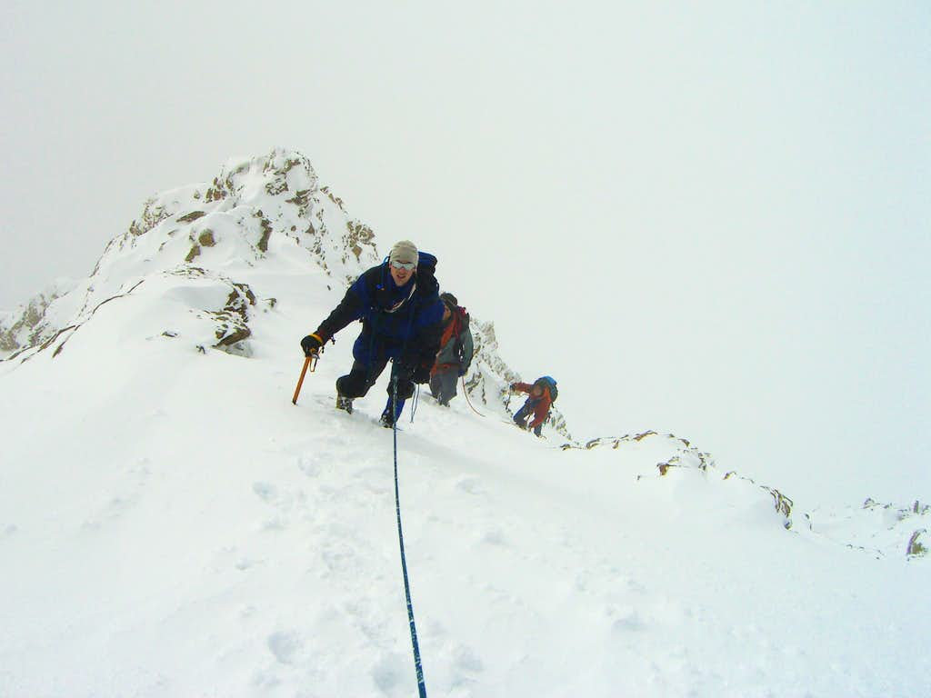 Reaching the SE ridge from south wall