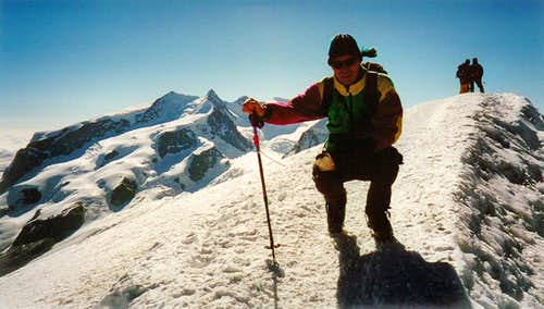 Hans on the summit with Monte Rosa behind