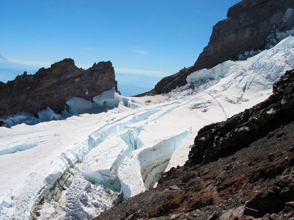 Enormous crevasses on the Ingraham