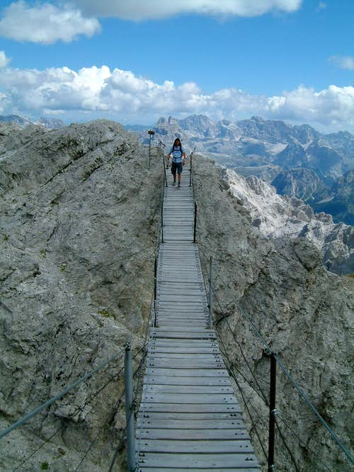 Longest suspension bridge in the dolomite-ferrata's