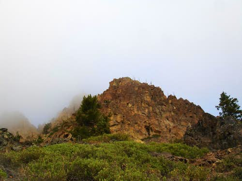 West summit shrouded in fog