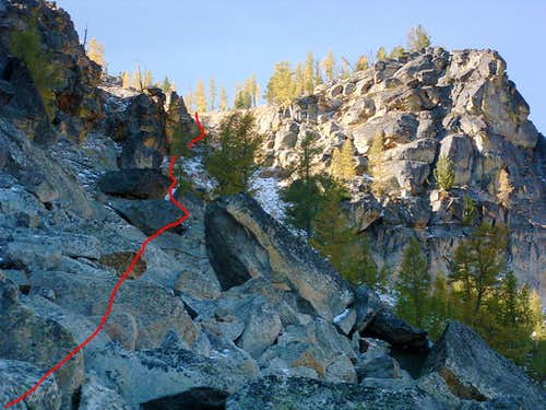 Highlighted Top of Gully Route