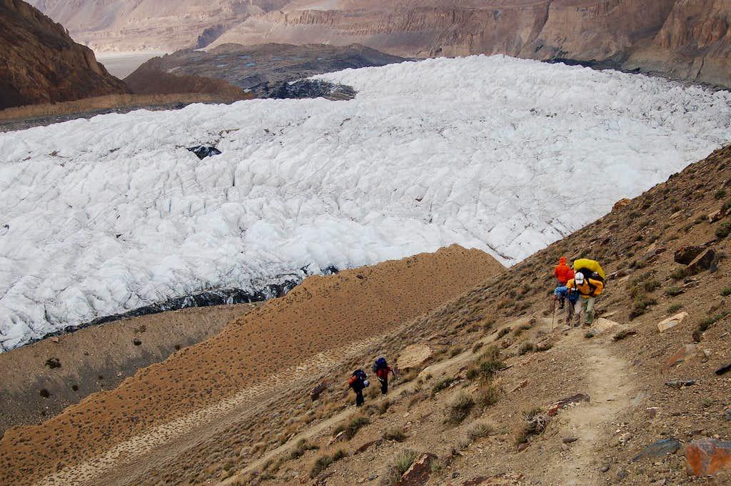 Climb to camp at 3500m on Yazghil Sar