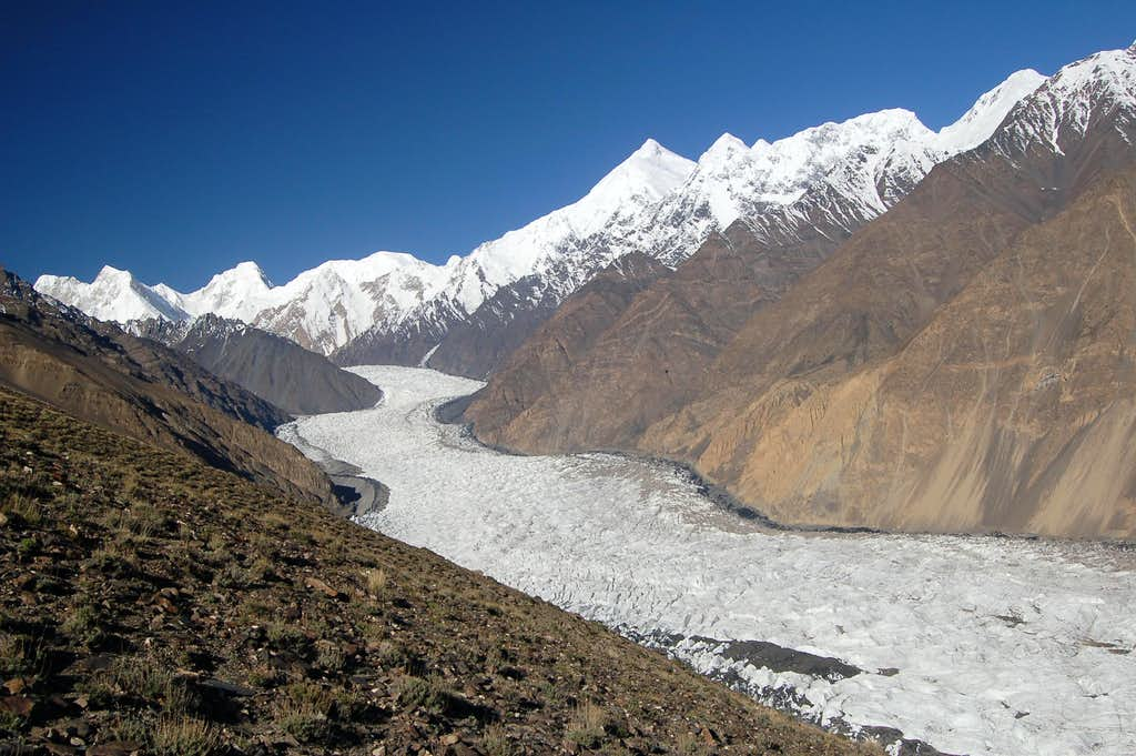 View South along the Yazghil Glacier to the Hispar Muztagh
