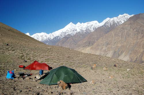 Camp at 3500m on Yazghil Sar