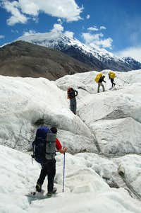 Crossing the Yazghil Glacier