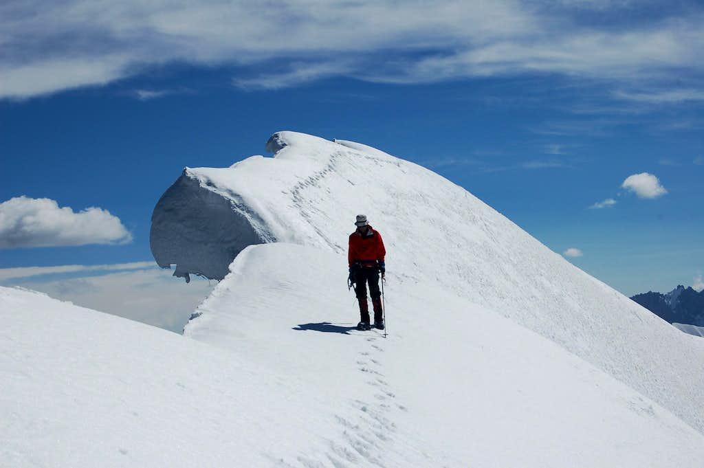 Cornice close to summit