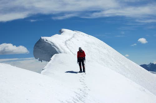 Cornice close to summit