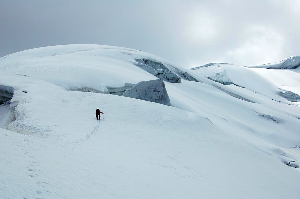 Climbing to high camp (5100m)