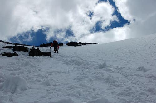 Climbing to Yazghil Sar\'s high camp