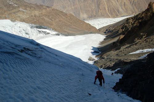 Climbing gully to high camp (5100m)