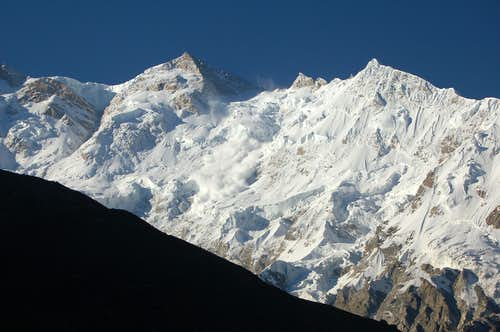 Avalanche on Nanga Parbat\'s Raikot face