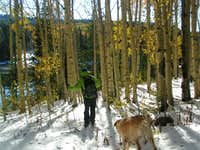 Aspens glow, snow shimmers, and Seth Skis in September!!!