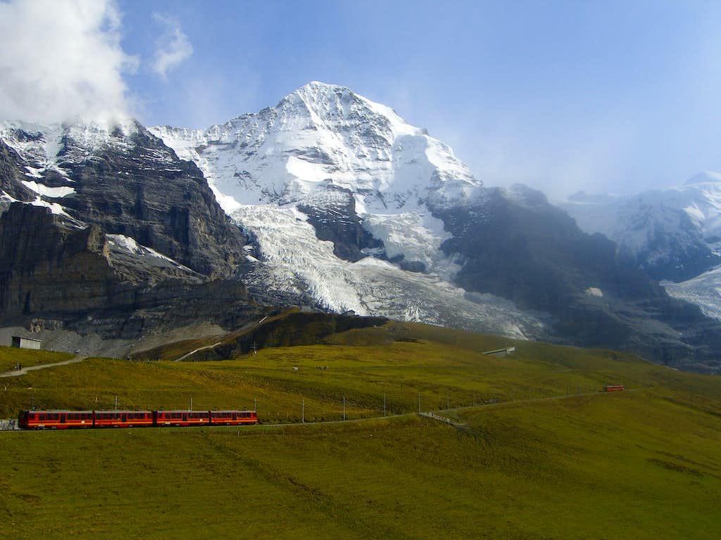 Mönch with Jungfraujoch-train