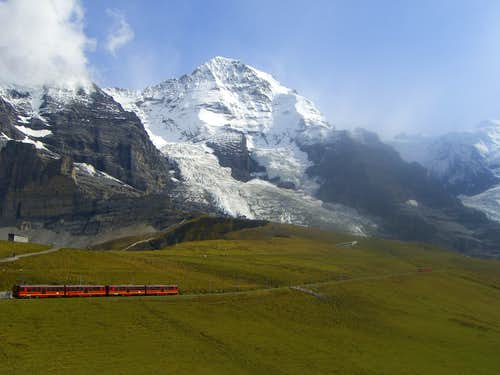 Mönch with Jungfraujoch-train