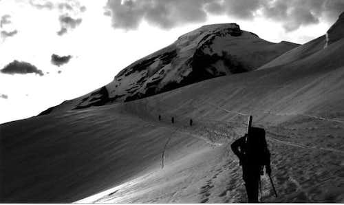 Ascending the Coleman Glacier.