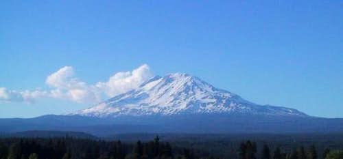 Clouds that give Mt. Adams an...