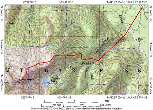 Route map for Bedal Peak