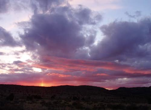 The sun sets over the Mojave