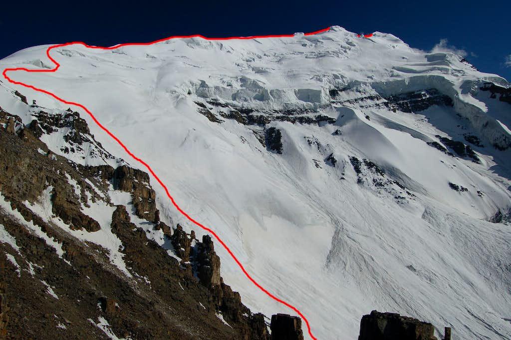 Northwest face & north ridge route on Yazghil Sar