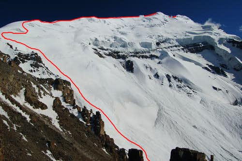 Northwest face & north ridge route on Yazghil Sar