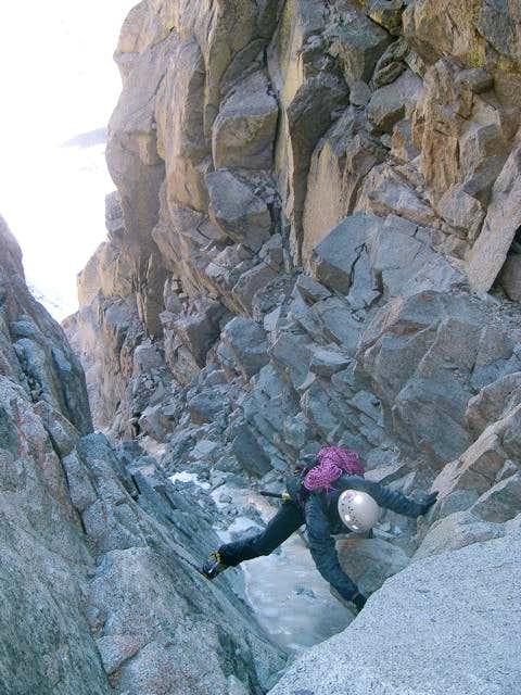 Topping out on the right Mendel couloir