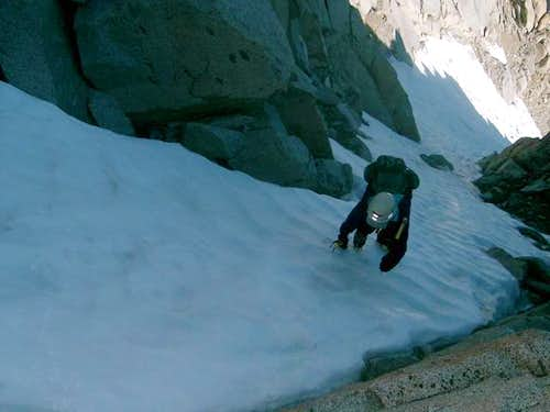 Topping out on Darwin's north face/glacier