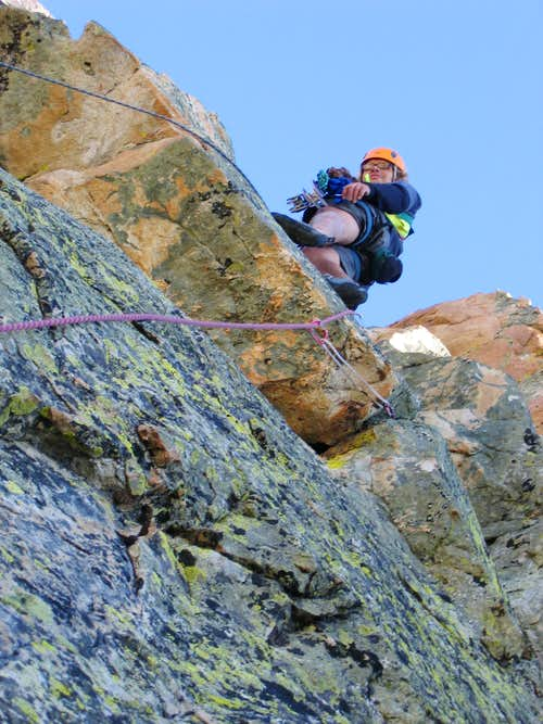 Above the crux on the N face variation