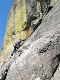 High up on the South Face route