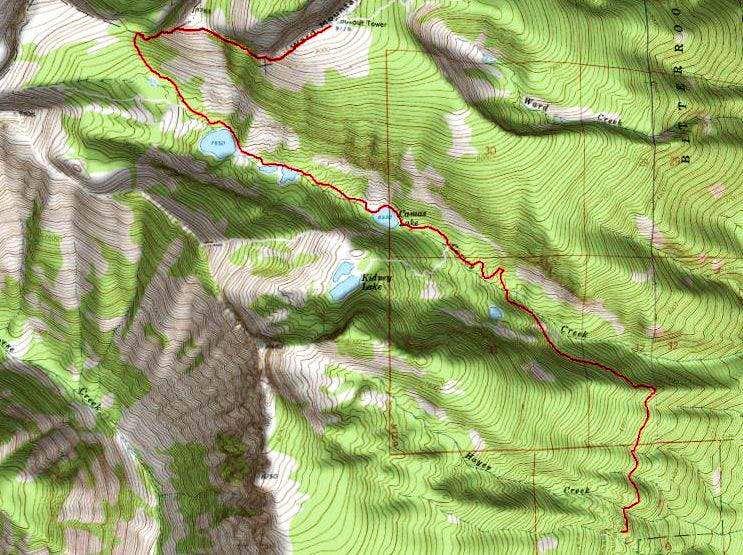 3D Topo of Camas Cirque Route