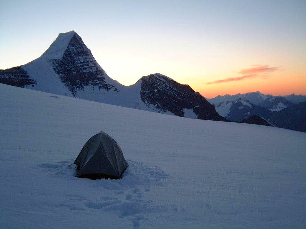 Blissful camp at the base of Resplendent Mountain's summit ridge