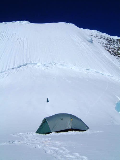 High camp on the Dome at the base of the Kain Face