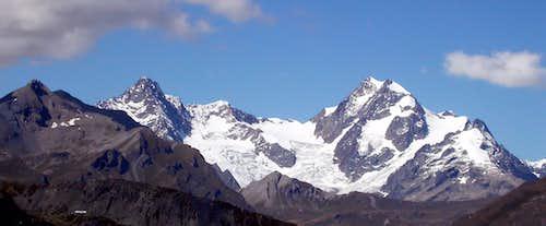 Il Monte Glacier e l'aiguille de Trelatete