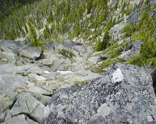The steep upper section of...