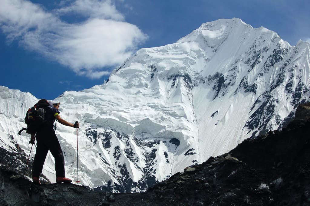 Climbing the icefalls beneath Shimshal Whitehorn's North Face