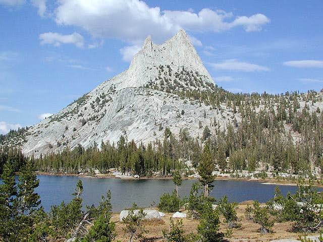 Cathedral Peak towering over...